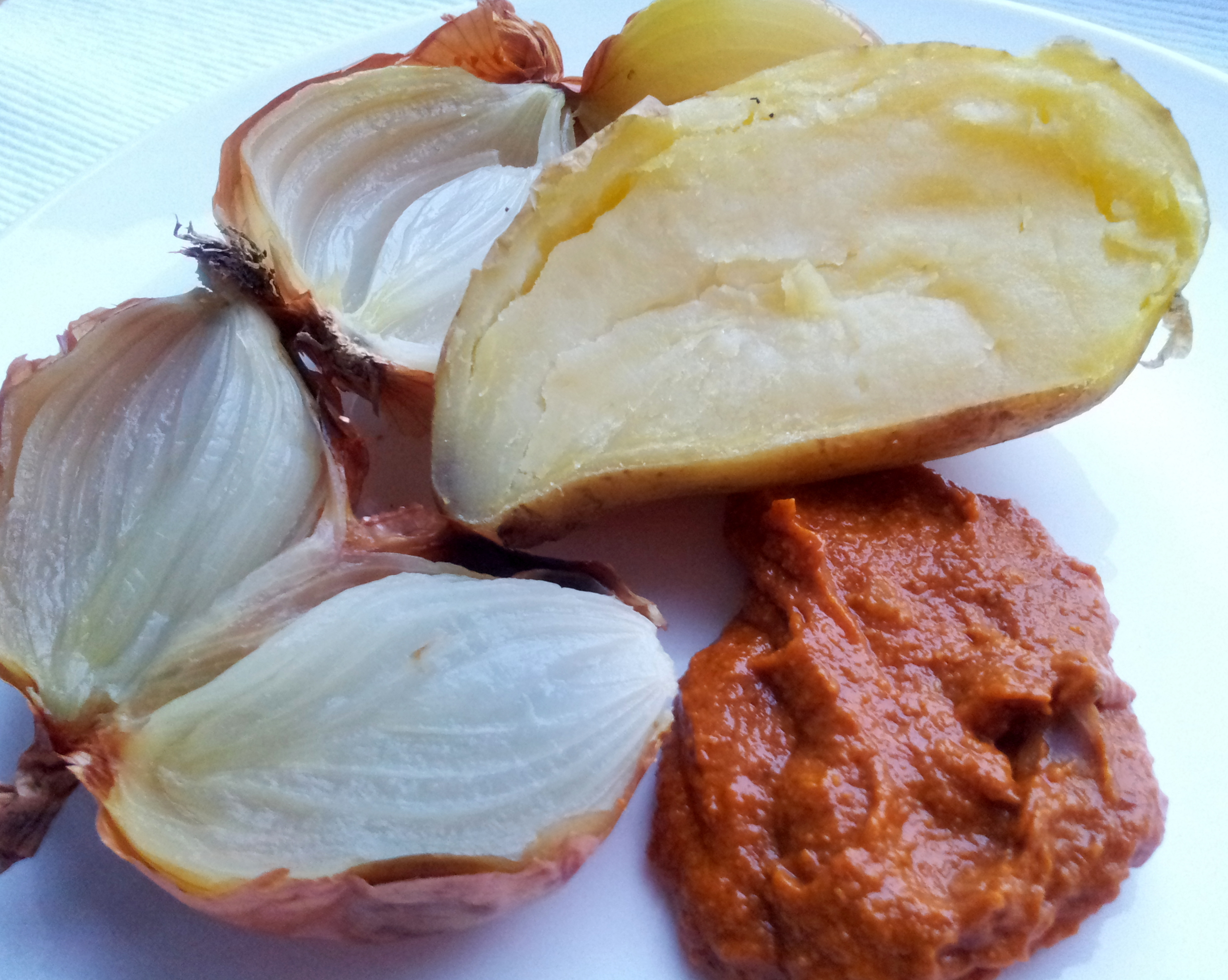 Baked onions and potatoes with romesco sauce | Caramelised Blog