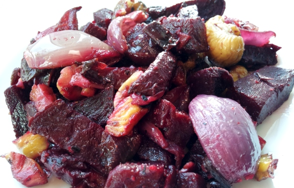 roasted beetroot with chestnuts and red onion