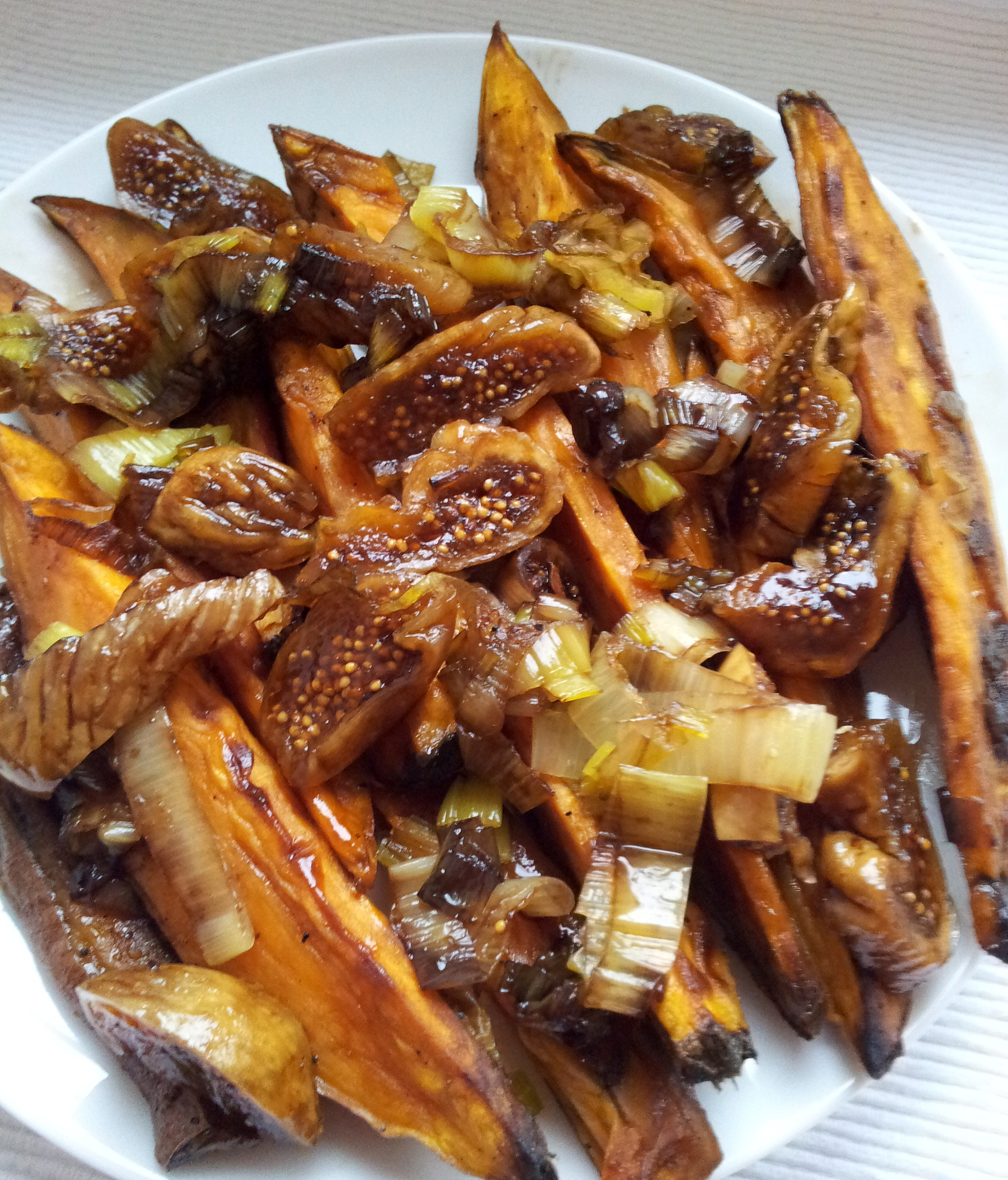 Roasted sweet potatoes and fresh figs in a reduction of balsamic
